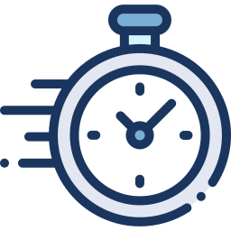 Speeding clock for quick service icon