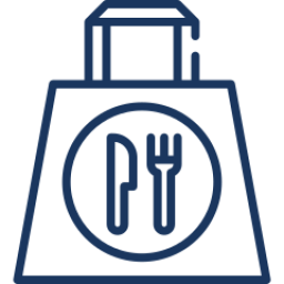 Food takeout bag with knife and fork icon